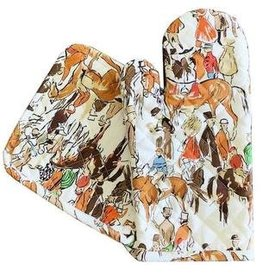 Pomegranate Paddock Oven Mitt & Pot Holder Set