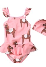 Horse Print Swinsuit & Cap - Girls