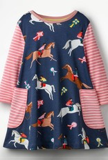 Patchwork Horse Printed Long Sleeves Dress - Girls
