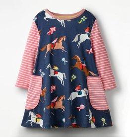 Patchwork Horse Printed Long Sleeves Dress - Girls