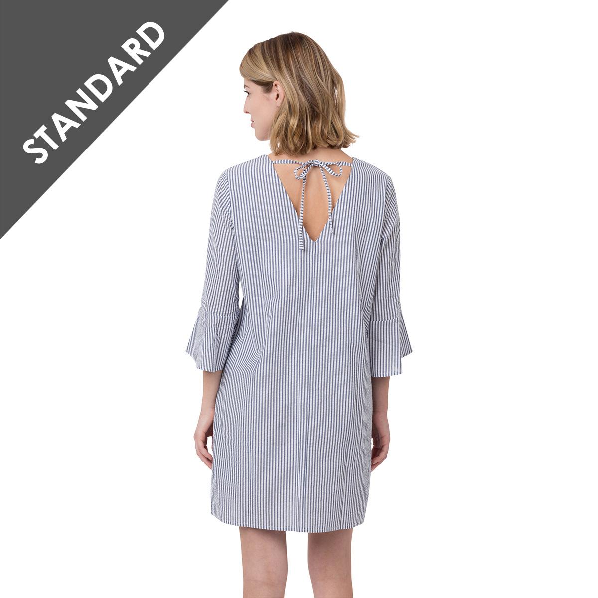Seersucker Bell Sleeve Dress