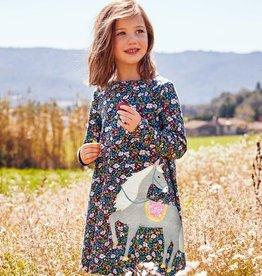 Pretty Girl Long Sleeve Floral Horse Dress