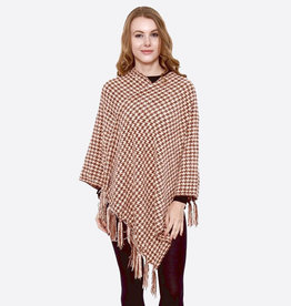 Houndstooth Print Poncho