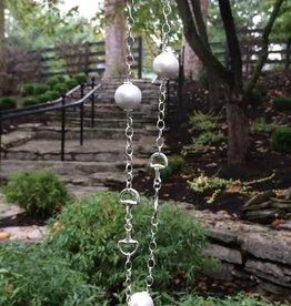 Silver Horse Bit & Cotton Pearl Necklace