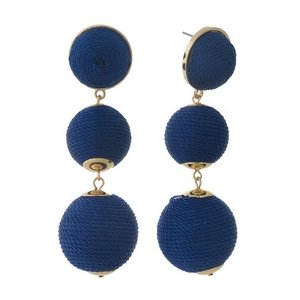 Woven Blue Dot Earring