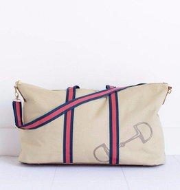 Pomegranate Snaffle & Stripe Weekender Bag