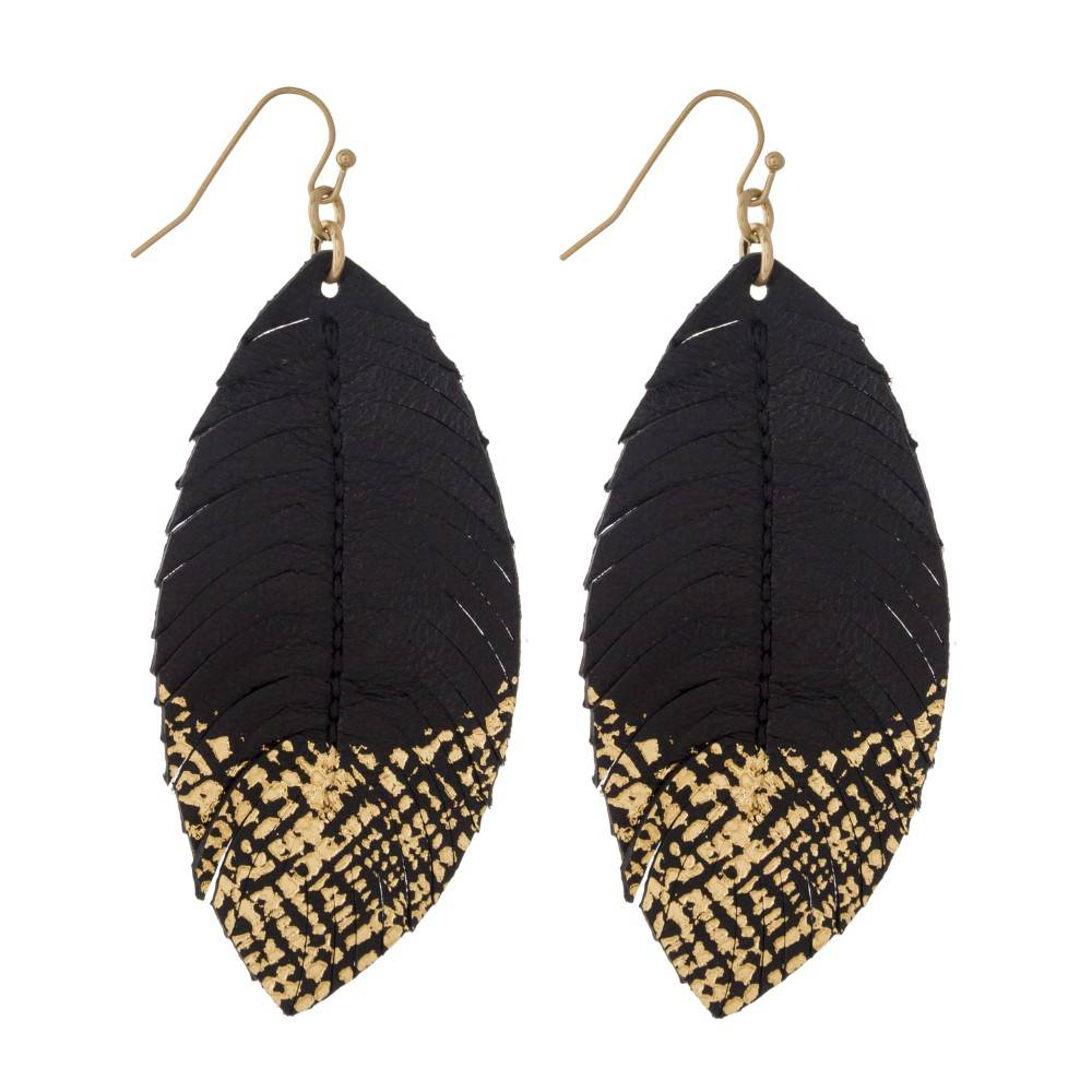 Gold Brushed Feather Earrings