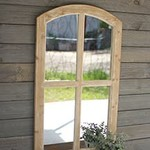 Arched Wooden Mirror White Wash