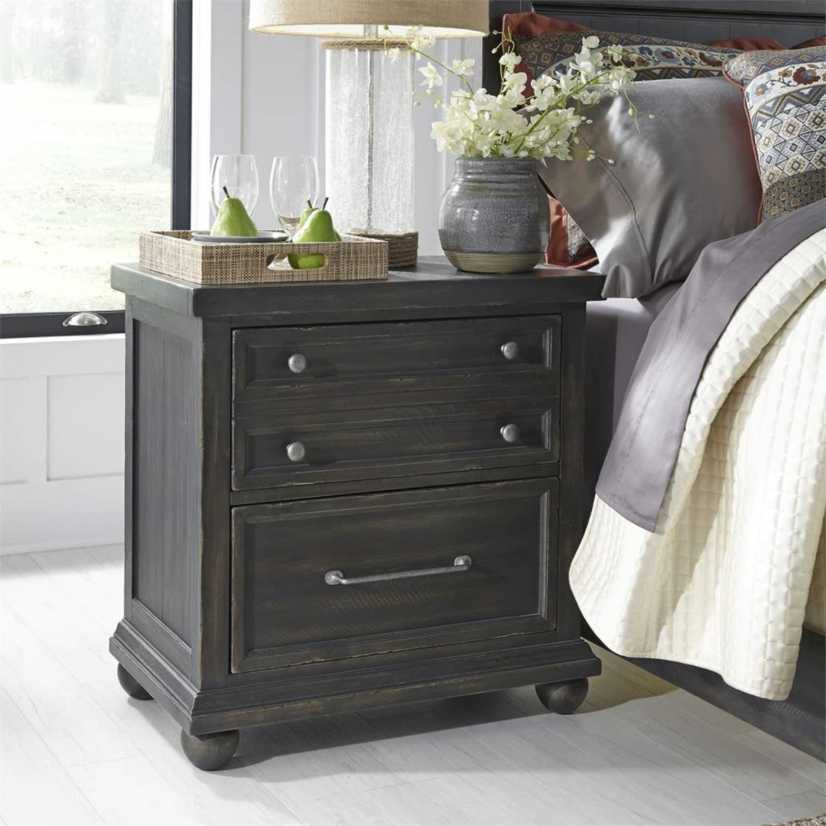 Harvest Home Nightstand w/ Charging Station 879-BR61