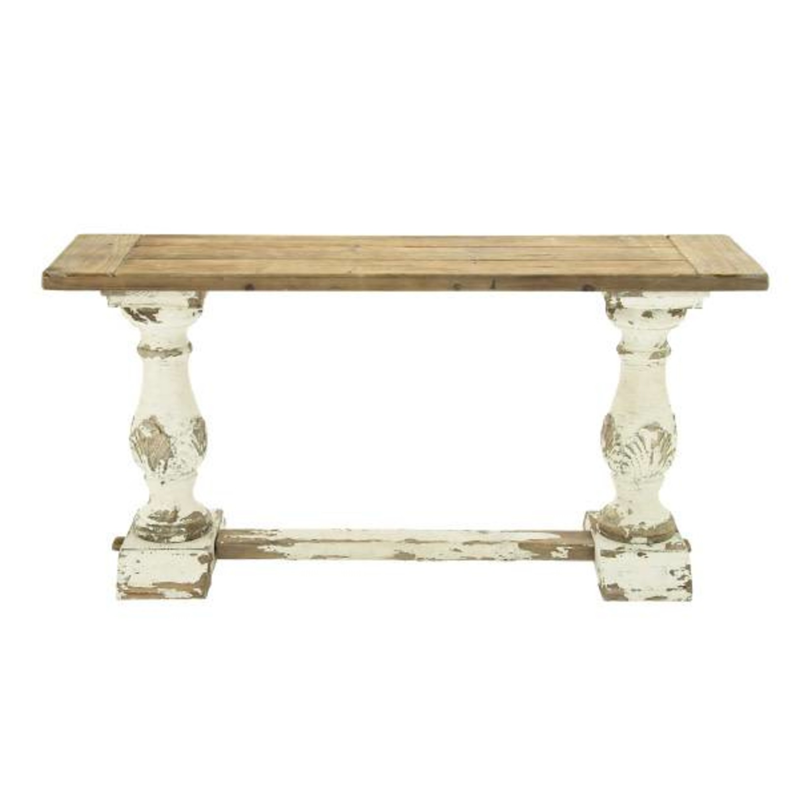 White Distressed Leg Console Table 14840
