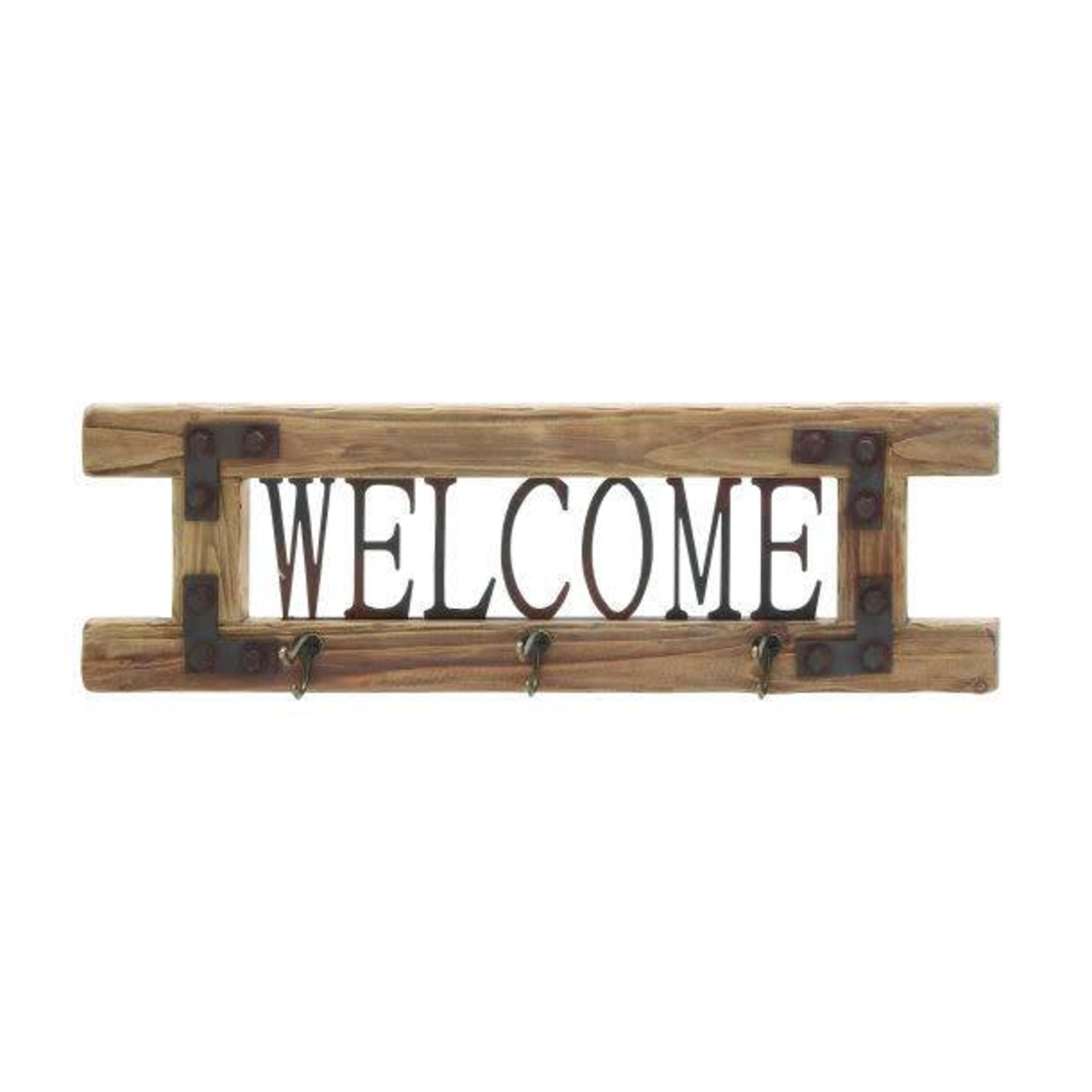 Welcome Wood Sign w/ Hooks 61438