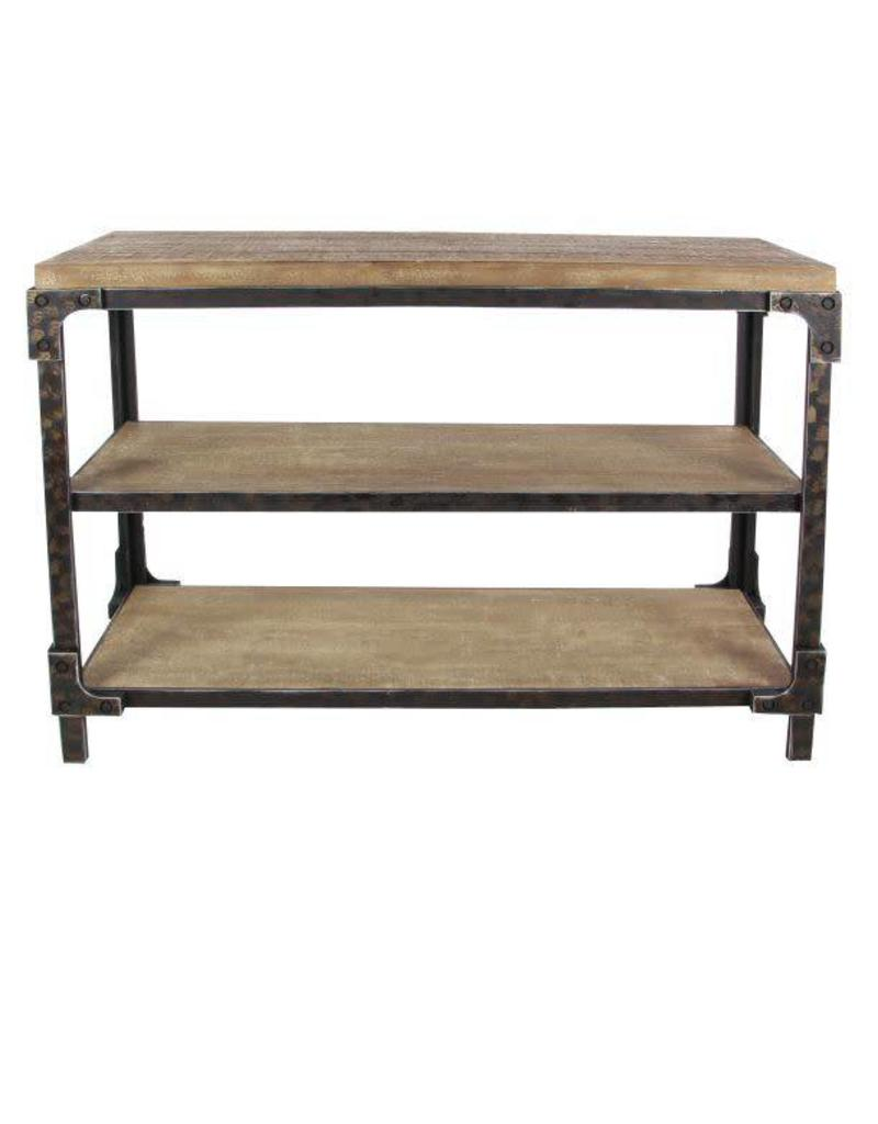 Three Selves Wood and Metal Console Table 86001