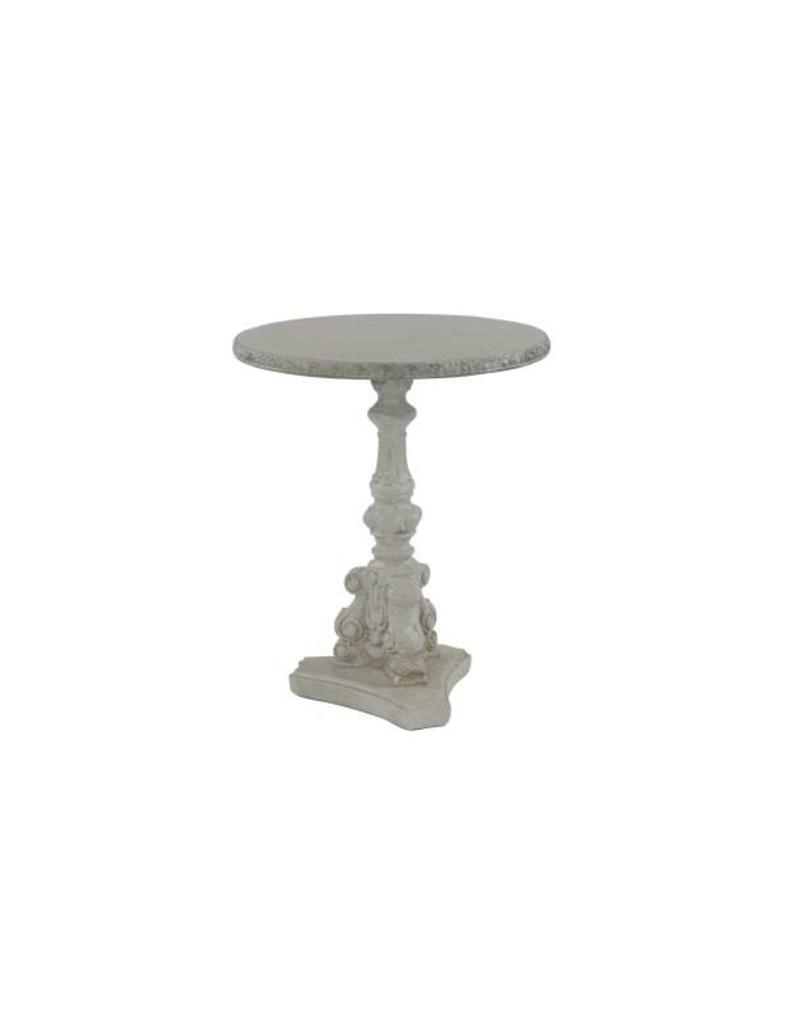 Carved Grey Round Accent Table