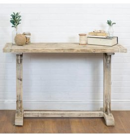 Light Wood Trestle Side Table