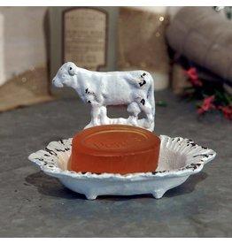 Distressed White Cow Soap Dish IH1072