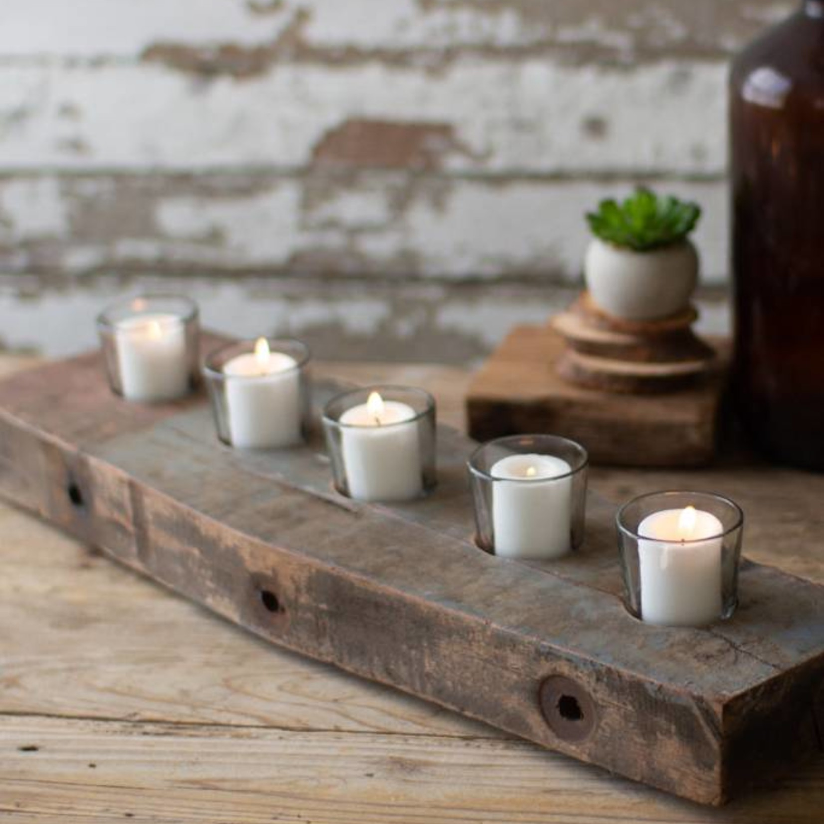 Recycled Wooden Beam with 5 Votive Glass Holders