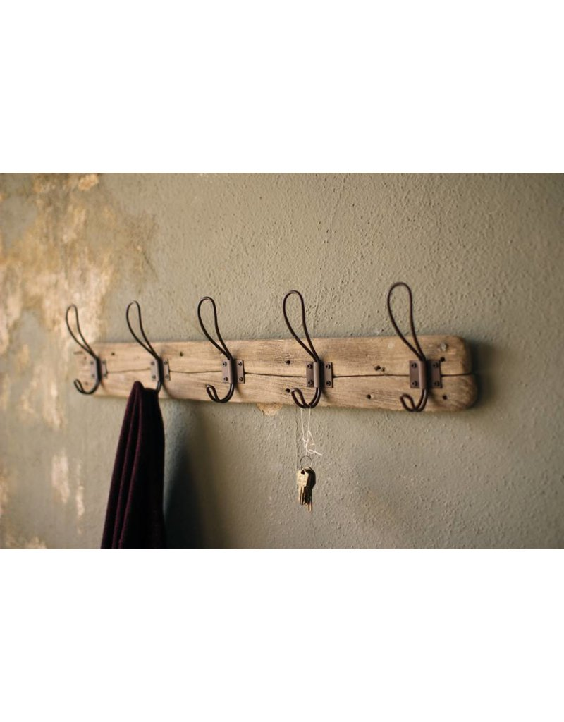 Recycled Wood Coat Rack with Hooks CXJ1025K