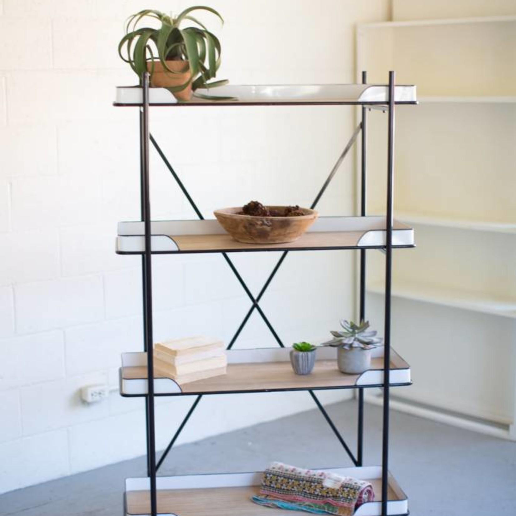 Metal Enamelware and Wood Shelf