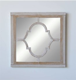 Square Wood Wall Mirror