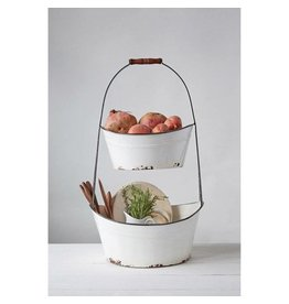 Two Tiered Enameled Bucket Tray