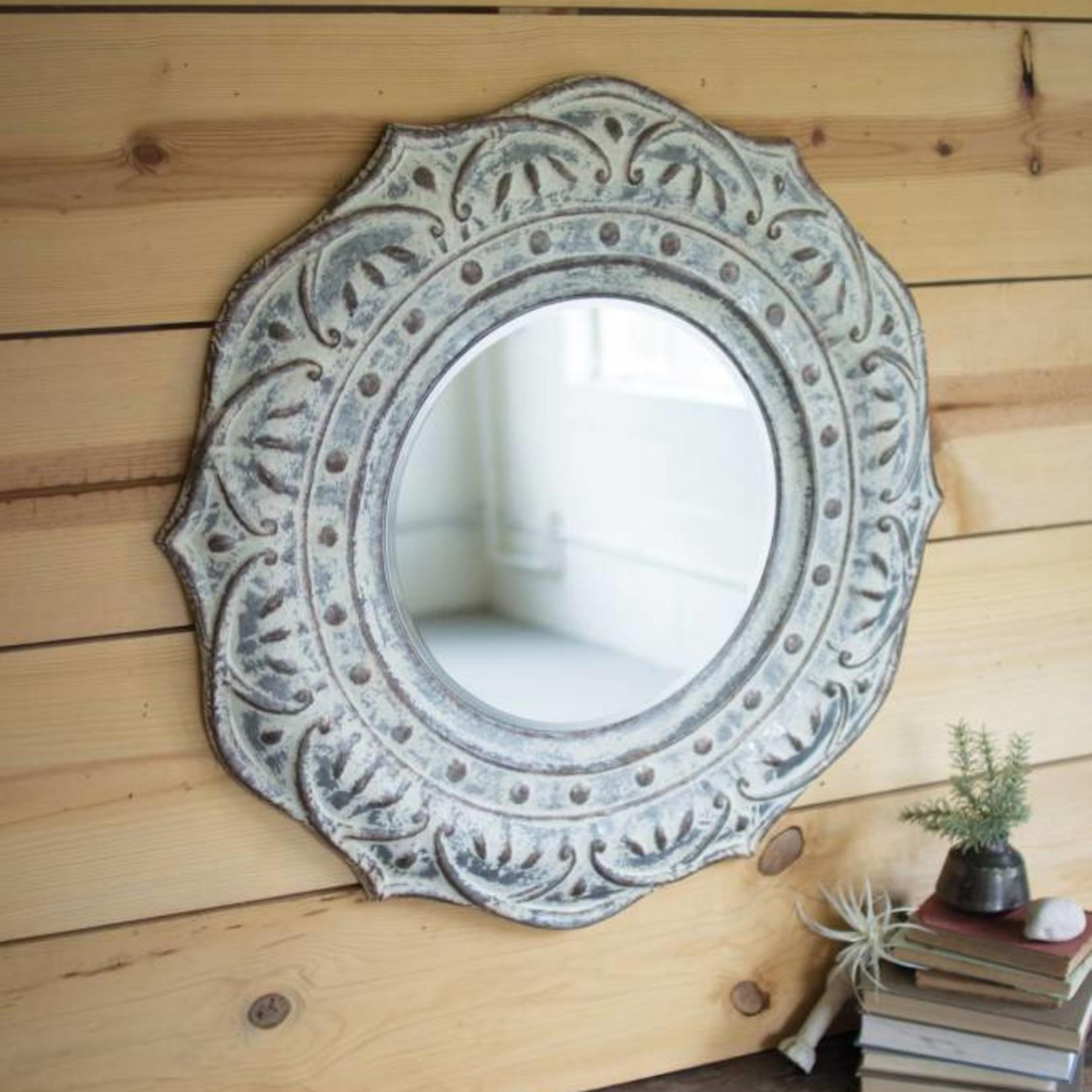Pressed Metal Flower Mirror