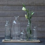 Wood Tray with 5 Glass Bottle Vases