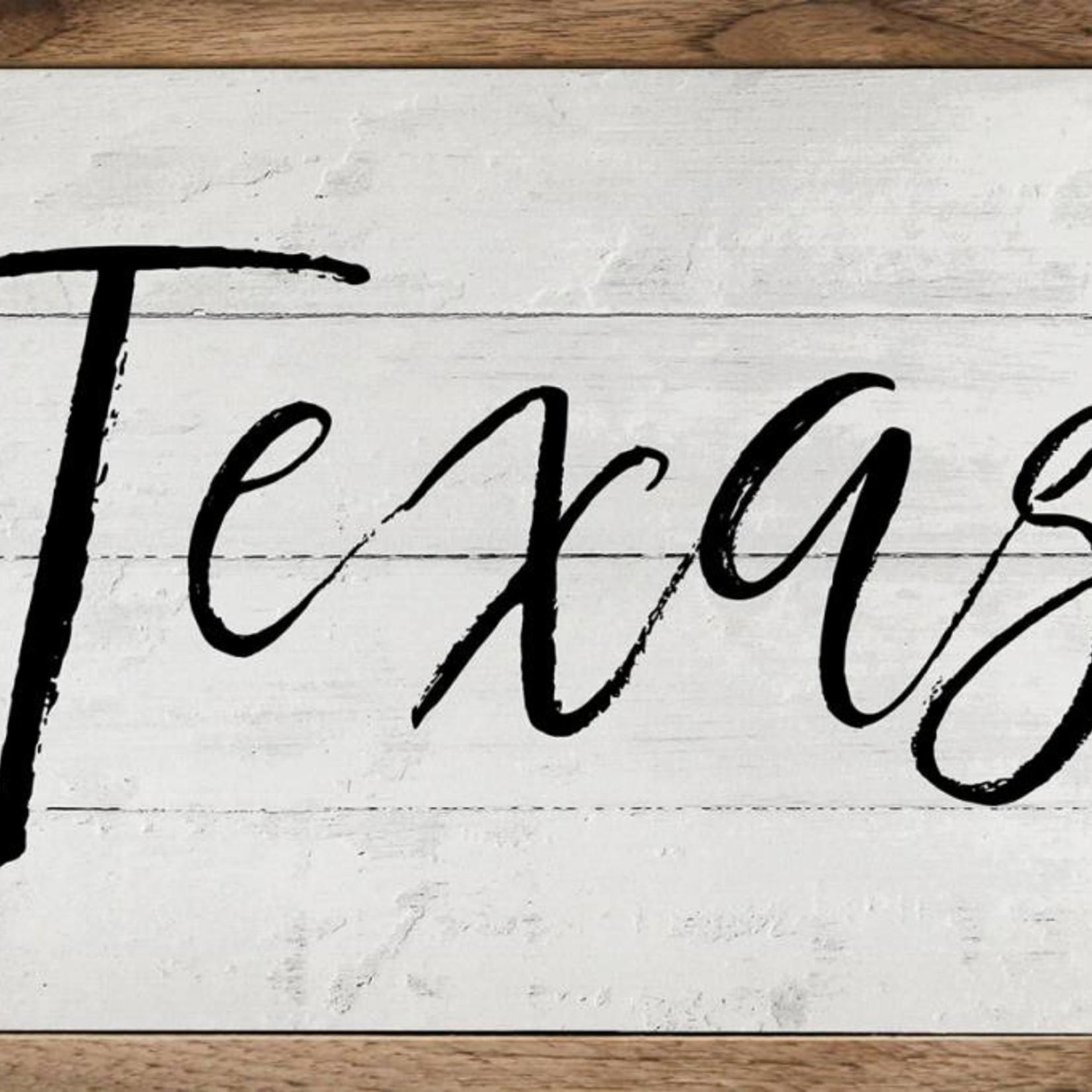 Texas Script Wood Sign