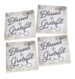 Blessed and Grateful Coasters - Set of 4
