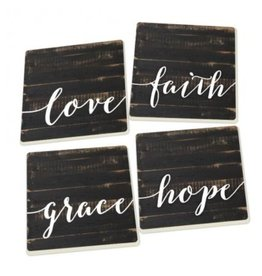 Love Faith Hope Grace Coasters - Set of 4