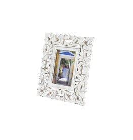 White Wood Carved Photo Frame 4x6