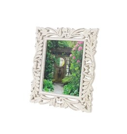 White Wood Carved Photo Frame 8x10