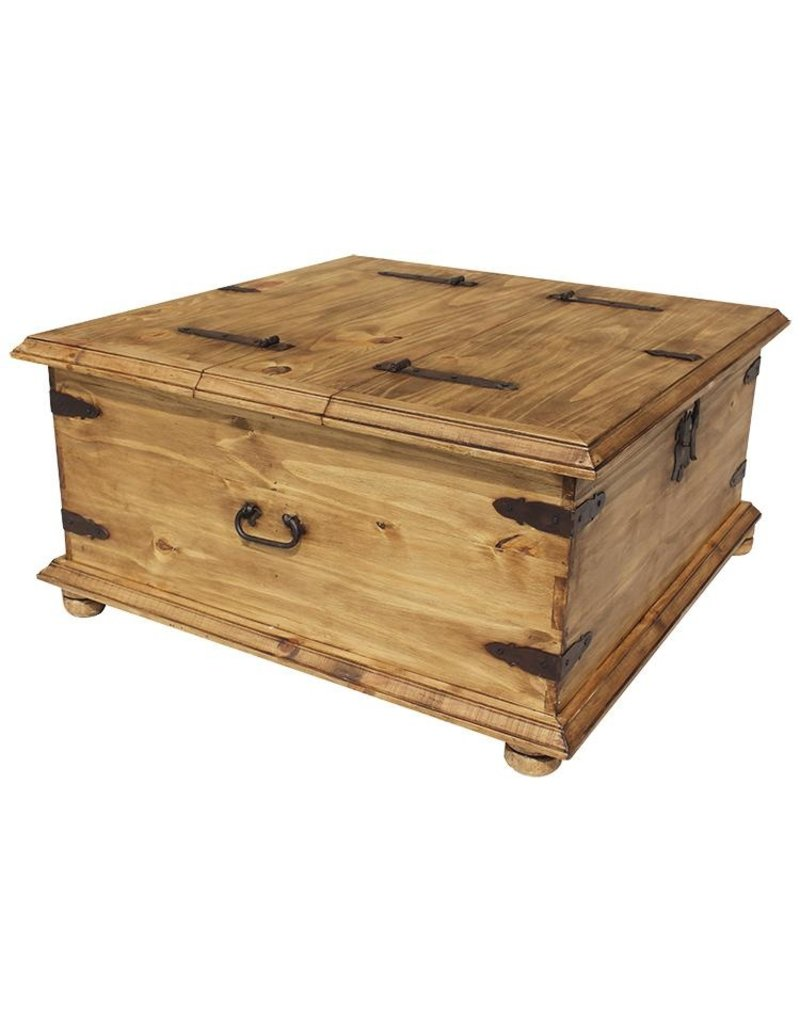 - Double Trunk Coffee Table Chocolate CEN 009 - Dirt Road Rustics