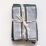Cotton Tea Towels Set - Sage, Black, White