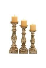 Distressed Grey and Wood Candle Holder