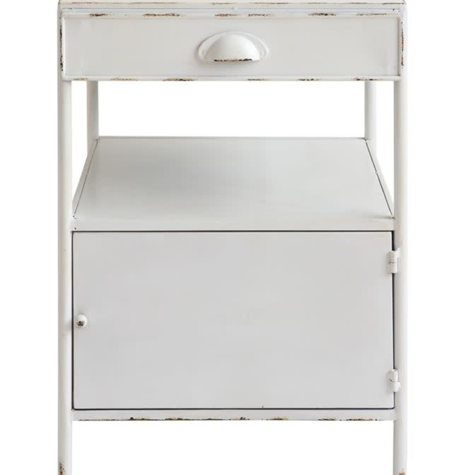 Distressed White Metal Side Table