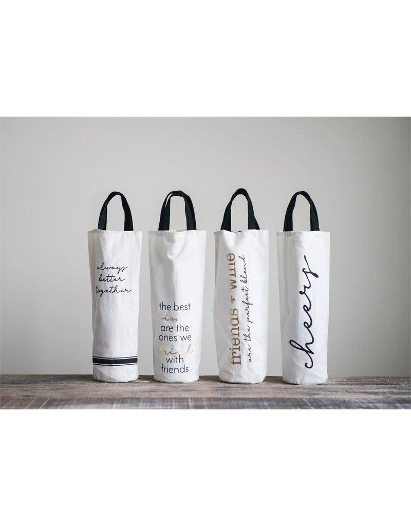 Wine Bag w Saying & Handles - 4 Styles