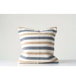 "20"" Square Cotton Woven Stripe Pillow"