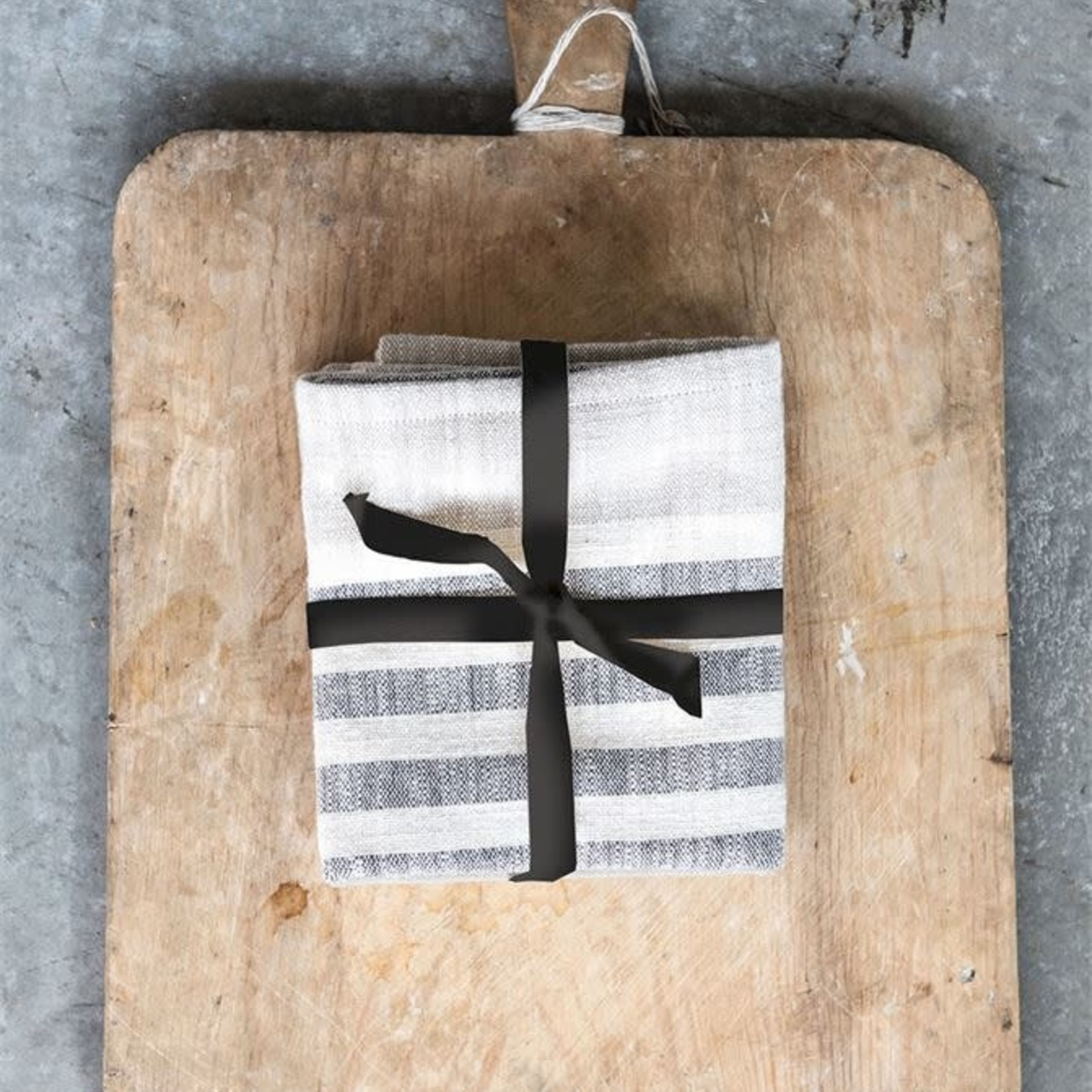 Woven Cotton Striped Tea Towels Set of 3