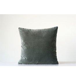"""20"""" Grey Cotton Velvet Pillow"""