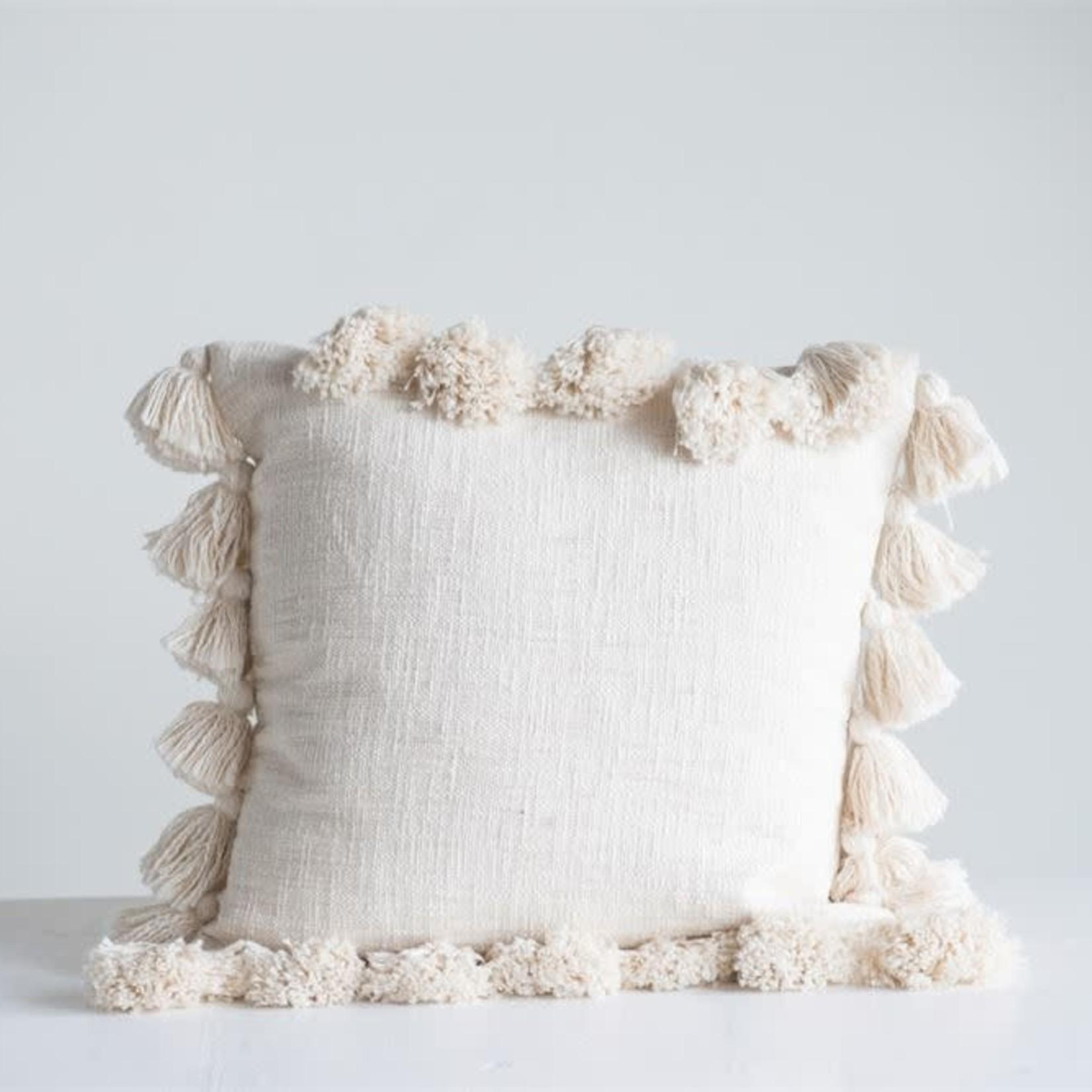 "18"" Square Cotton Pillow w Tassels, Cream"