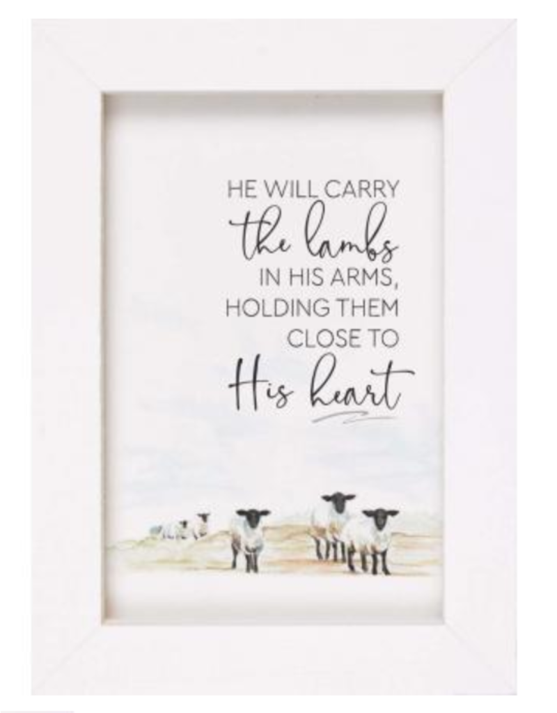 He Will Carry The Lambs Framed Art LFR0223