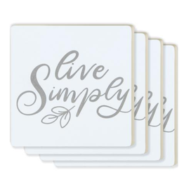 Live Simply Coasters - 4 Pack