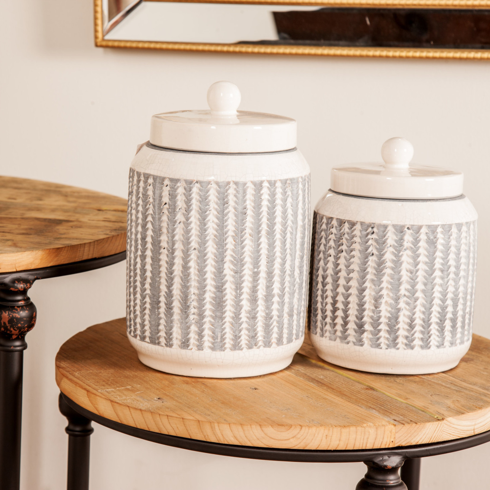 Grey and White Ceramic Canisters Set of 2 85154