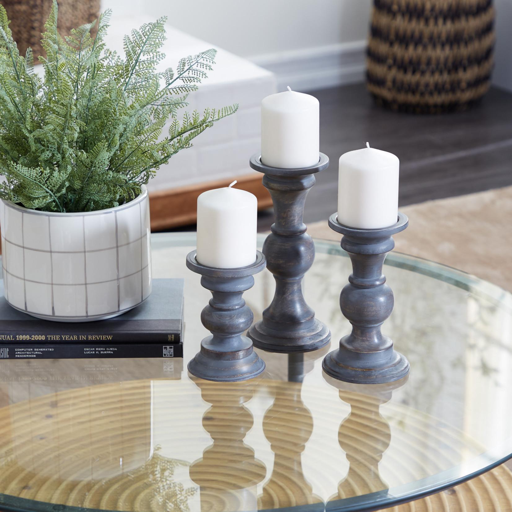 Grey Wood Candle Sticks Set of 3