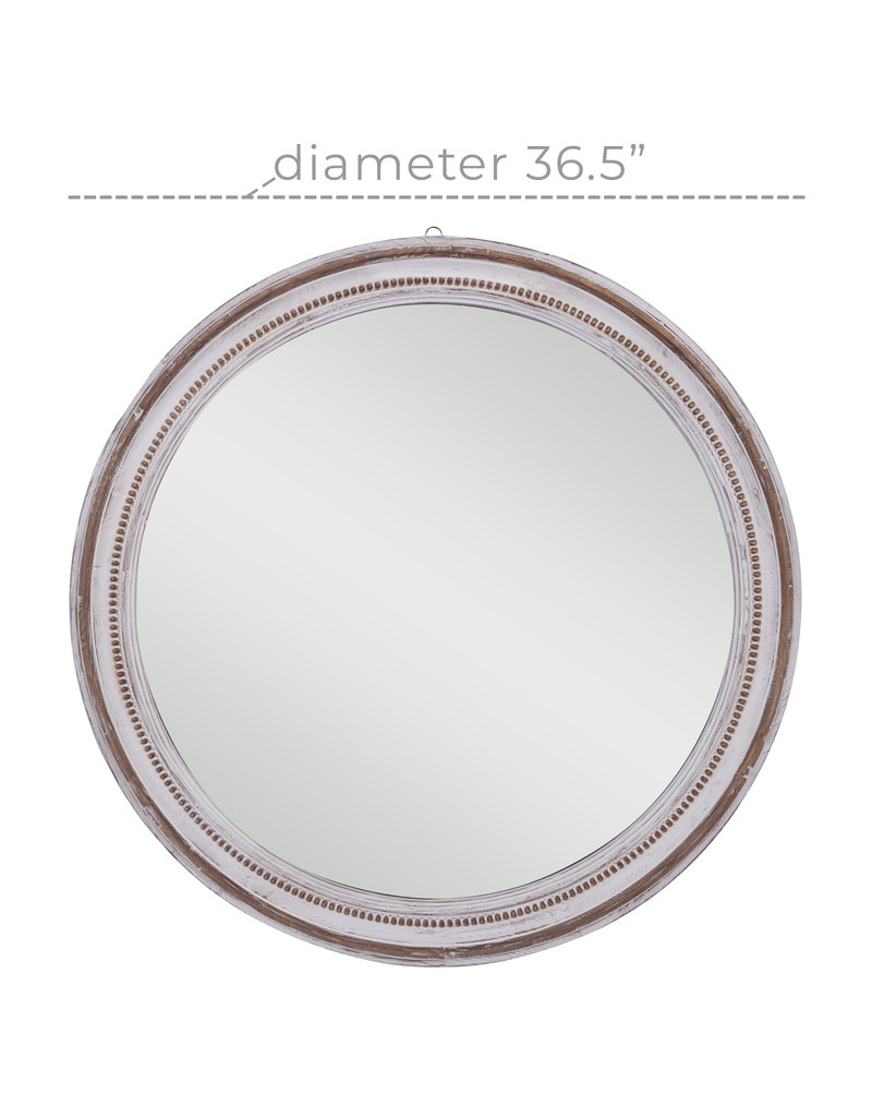 White Wash Beaded Round Mirror