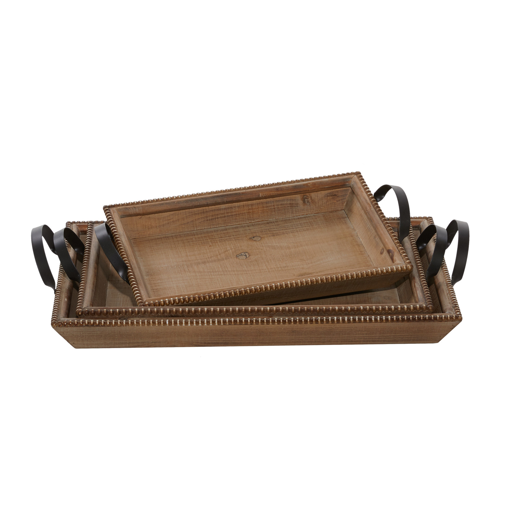 Wood Beaded Tray with Metal Handles