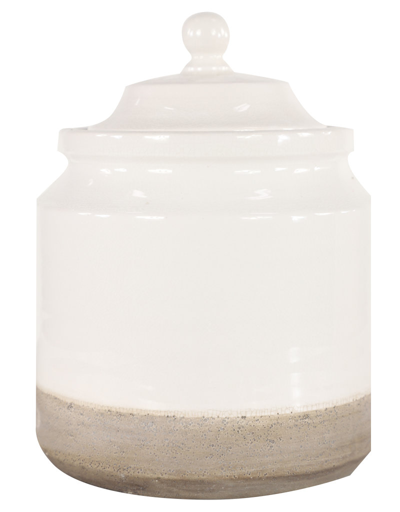 Ceramic Cream and Taupe Canister Set of 2