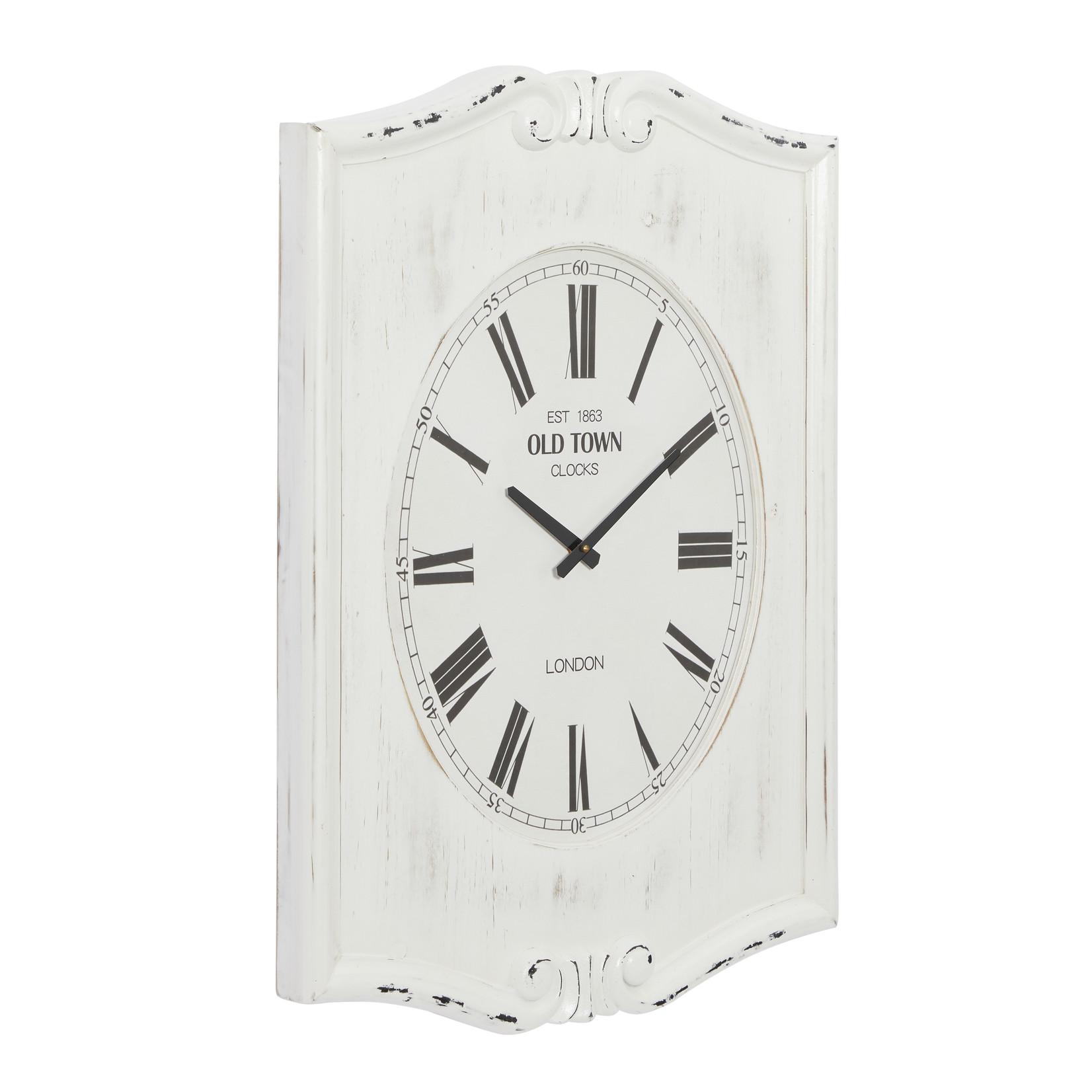White Wash Rectangular Wall Clock
