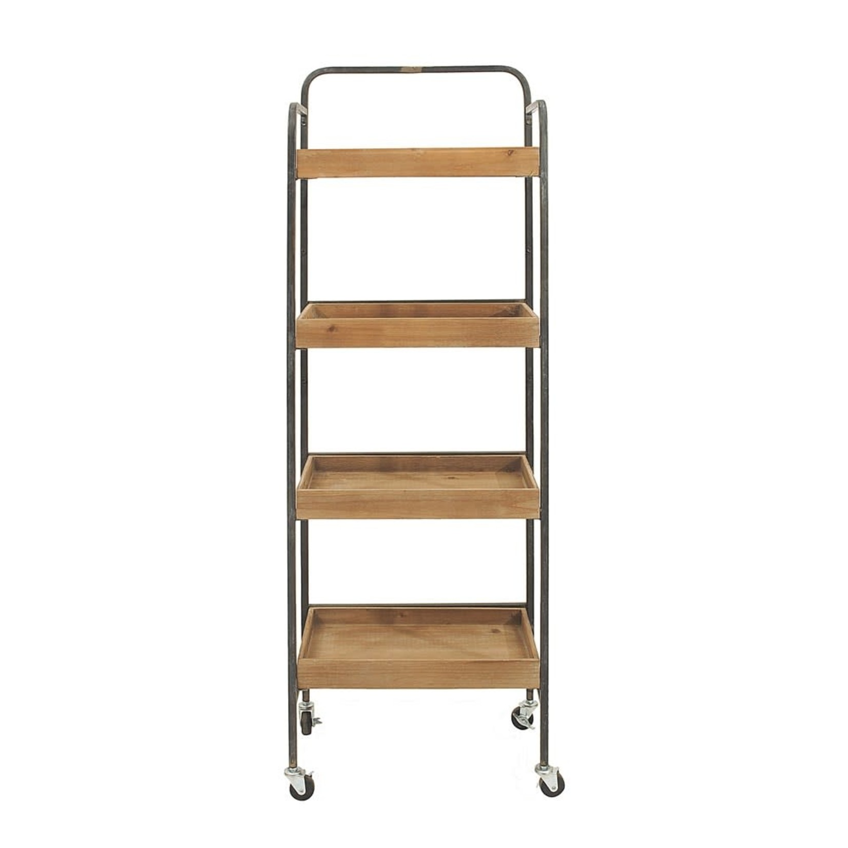 Metal & Wood Four Tier Rack on Casters