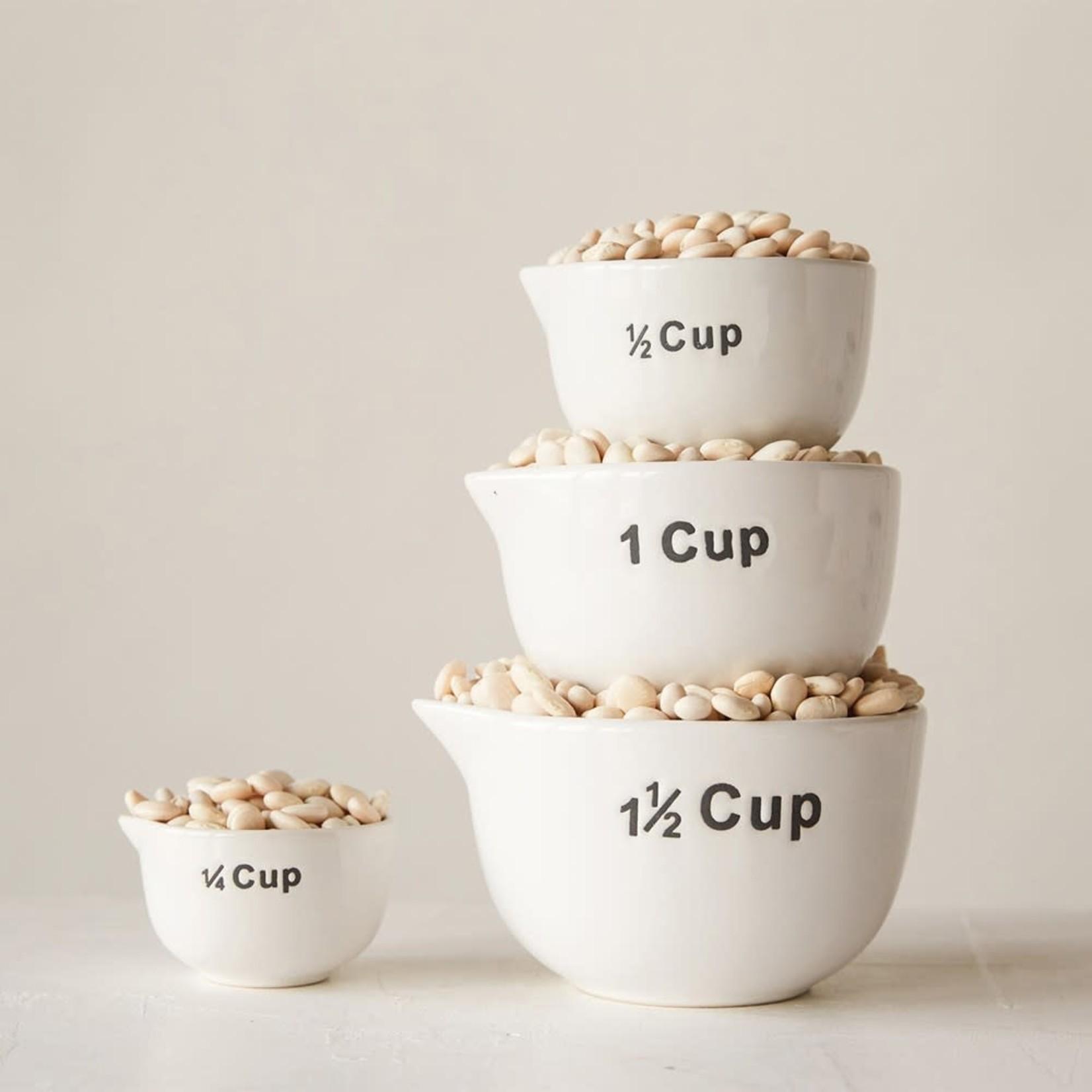 Stoneware Measuring Cups White Set of 4